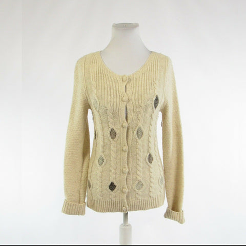 Beige wool blend CHARLES and ROBIN long sleeve cardigan sweater multi-knit S