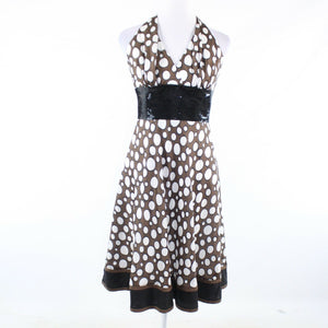 Brown white polka dot 100% silk CARMEN MARC VALVO halter neck A-line dress 8