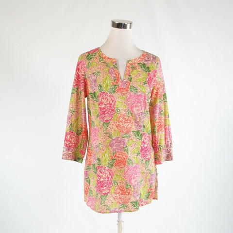Orange pink floral print 100% cotton BROOKS BROTHERS 3/4 sleeve tunic blouse S-Newish