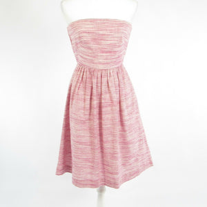 Pink white striped linen BANANA REPUBLIC strapless A-line dress 0