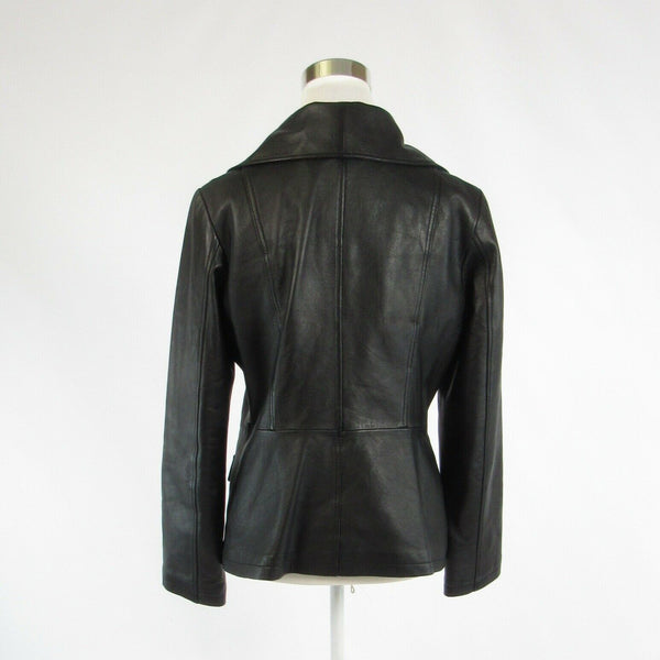 Black 100% leather ALFANI long sleeve motorcycle jacket M-Newish