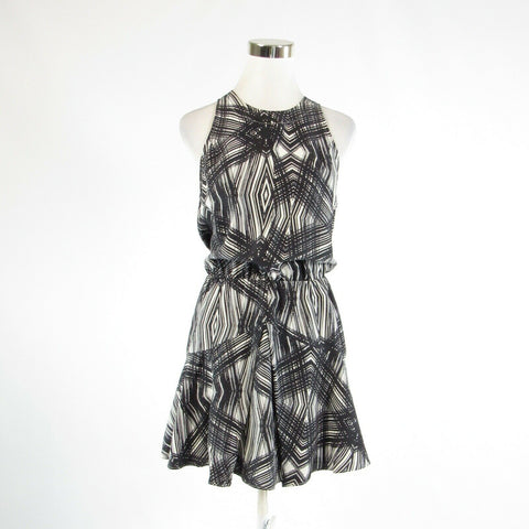 Black white geometric 100% silk TOWNSEN sleeveless A-line dress S