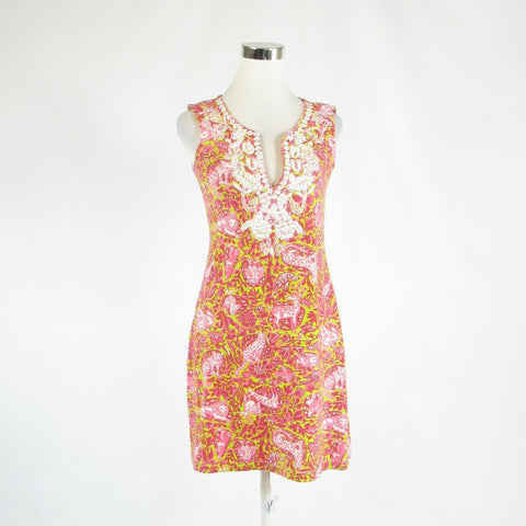 Pink green floral print cotton blend BARBARA GERWIT sleeveless sun dress S-Newish