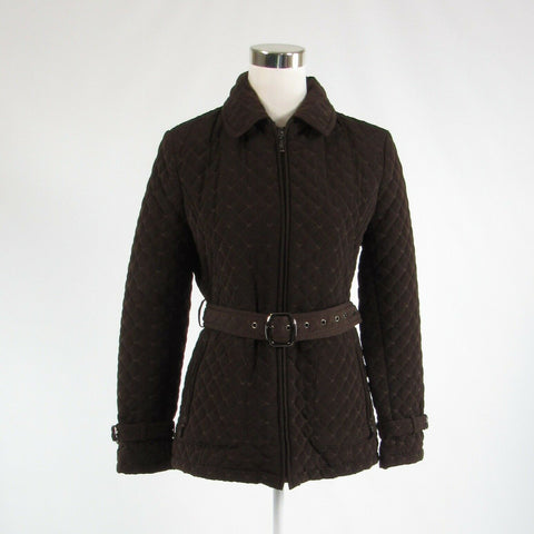 Brown diamond quilted GALLERY long sleeve jacket M