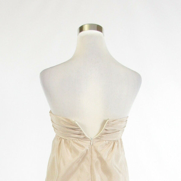 White beige diagonal striped 100% silk BCBG PARIS sleeveless bubble dress 4-Newish