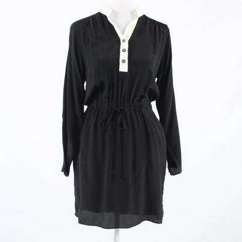 Black ivory sheer overlay 100% silk LINE & LOTTE 3/4 sleeve tunic dress M-Newish