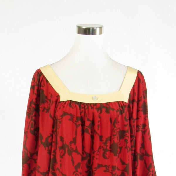Red brown abstract 100% silk CENTRAL PARK WEST 3/4 sleeve tunic blouse M-Newish