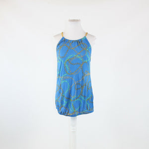 Blue green and gold geometric NEW YORK and COMPANY chain link strap blouse M