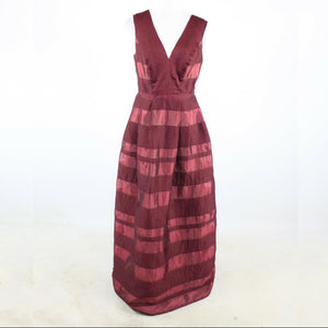 Maroon red striped MONIQUE LHUILLIER sleeveless ball gown dress 10