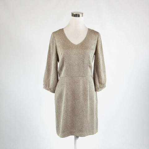 Taupe brown animal print BANANA REPUBLIC 3/4 sleeve A-line dress 6