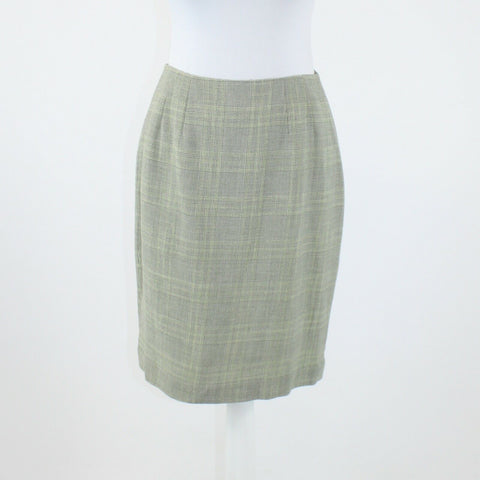 Green blue plaid wool blend ELLEN TRACY knee-length pencil skirt 6P