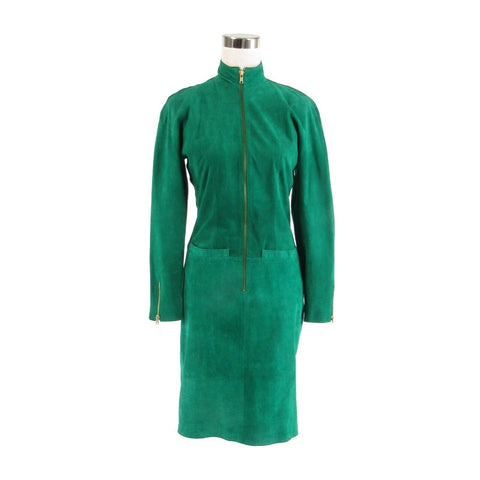 Green suede PIA RUCCI zip front long sleeve vintage sheath dress 6
