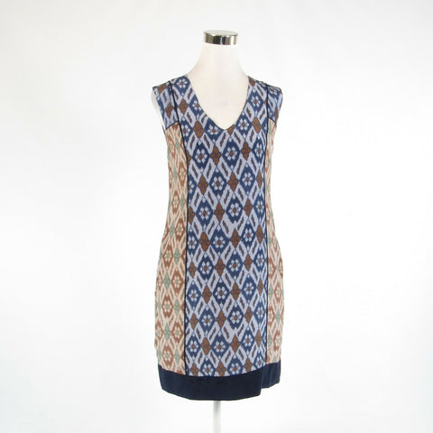 Beige blue geometric 100% silk ANTHROPOLOGIE ANNA SUI sleeveless dress 4
