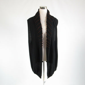 Black brown LAUREN VIDAL sleeveless vest sweater L