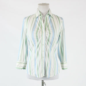 White blue & green striped cotton blend NEW YORK & COMPANY button down shirt S-Newish
