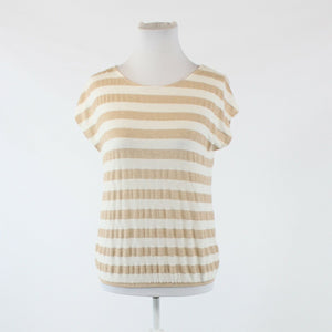Ivory light brown striped shimmery stretch NEW YORK and COMPANY capsleeve blouse S