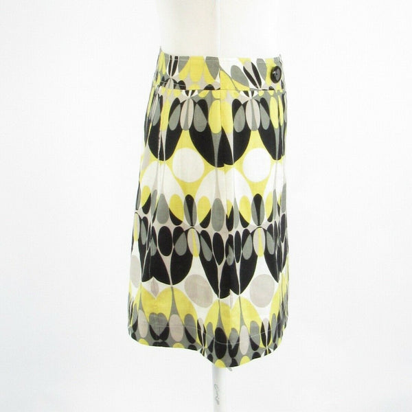 Light yellow black geometric 100% linen CLAUDE BROWN A-line skirt 4-Newish
