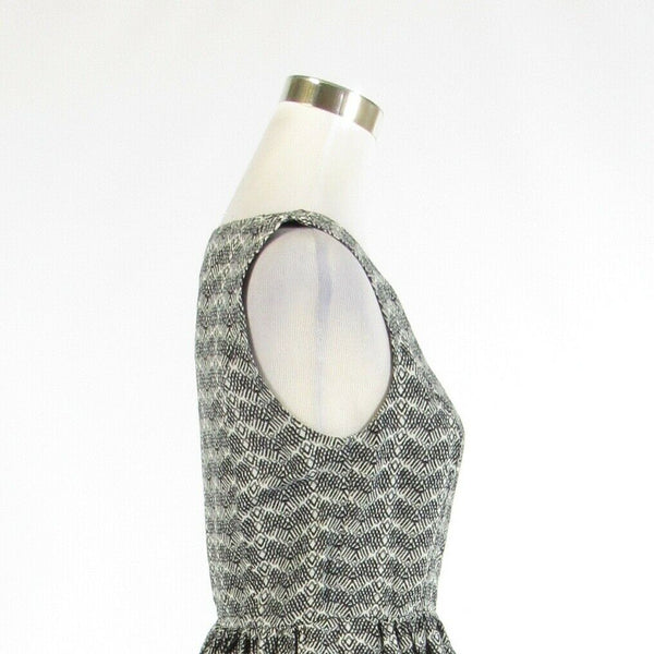 Black white gray chevron linen blend JOIE sleeveless A-line dress M-Newish