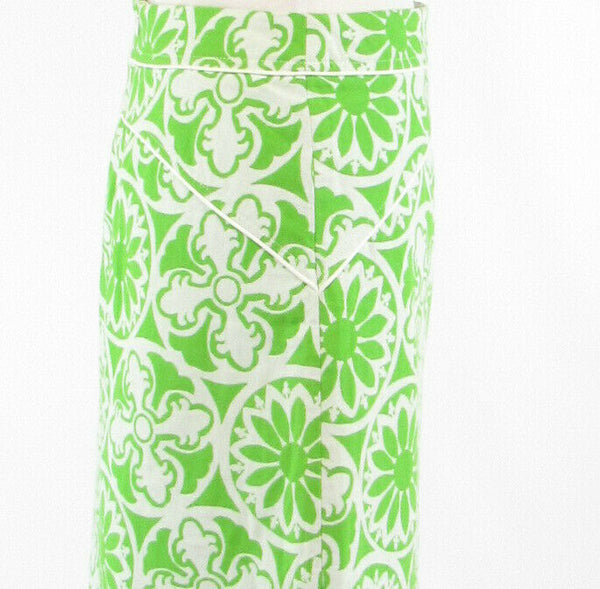 Bright green white geometric 100% cotton LILLY PULITZER A-line skirt 0