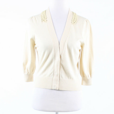 Cream beaded silk blend REBECCA TAYLOR 3/4 sleeve cardigan sweater M