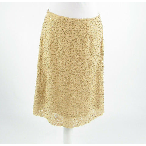 Beige gold lace BILL BLASS beaded sequin sheer overlay A-line skirt M