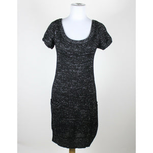 MISS ME COLLECTION black silver shortsleeve scoop neck shimmery sweater dress S-Newish