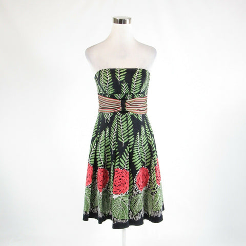 Black green floral print cotton blend KAY UNGER sleeveless empire waist dress 6