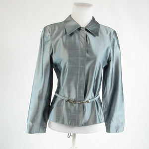 Gray silk blend JULIO COLLECTION long sleeve blazer jacket 6