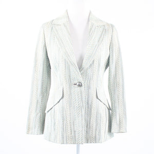 Beige gold uneven striped shimmery tweed ECCOCI long sleeve coat 8