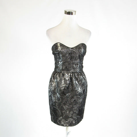 Charcoal gray silver floral print FRENCH CONNECTION sleeveless sheath dress 4