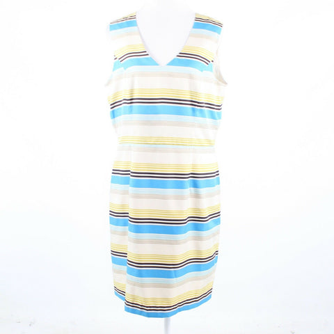 Multicolor uneven striped BANANA REPUBLIC strapless sheath dress 14-Newish