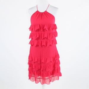 Fuchsia pink silk TRACY REESE halter tiered dress 4