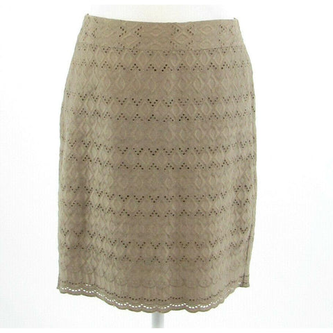 Taupe diamond eyelet ANN TAYLOR embroidered pencil skirt 6