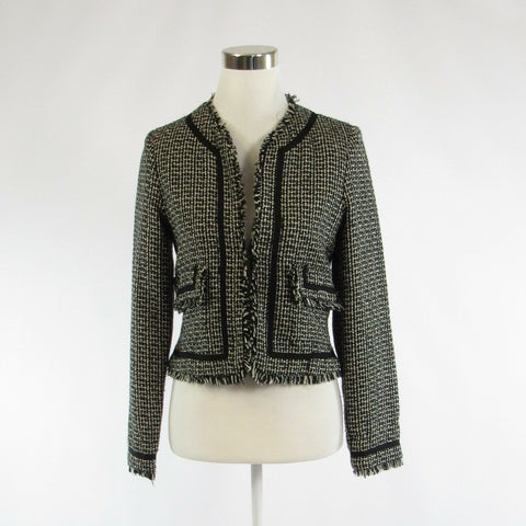 Black white checkered tweed TRUE MEANING open front long sleeve jacket 4