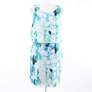 Turquoise blue white floral print ANDREW MARC sleeveless blouson dress 4