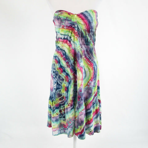 Multicolor tie dye 100% cotton THEORY strapless stretch sun dress L