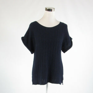 Navy blue 100% cashmere CALYPSO St. Barth short sleeve scoop neck sweater S
