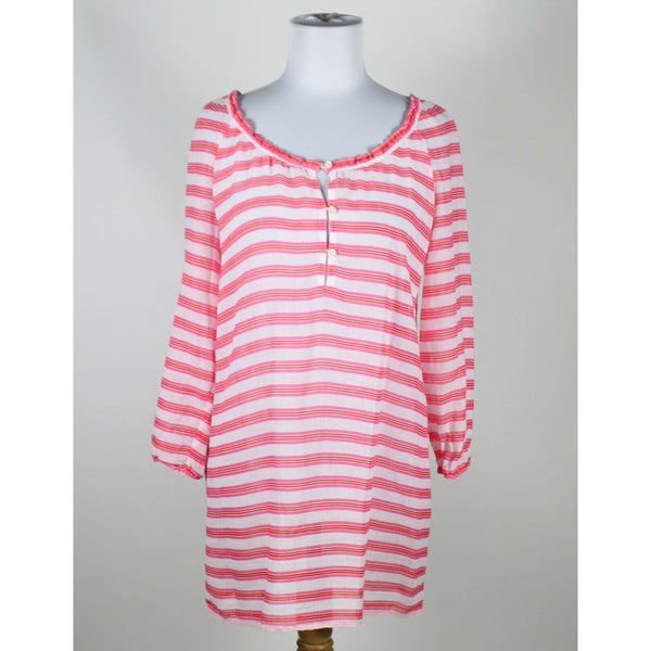 J. CREW white red pink striped 100% cotton 3/4 sleeve scoop neck tunic blouse XS-Newish