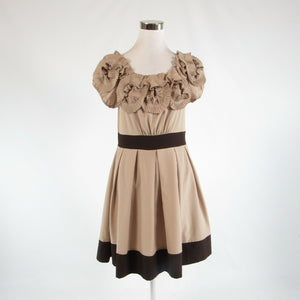 Beige brown RYU short sleeve A-line dress L-Newish