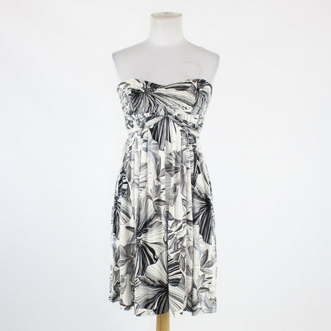 White black and gray floral rayon MOLLY NEW YORK strapless knee-length dress XS-Newish