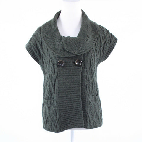 Charcoal gray double breasted CLASSIQUES ENTIER cap sleeve vest sweater S-Newish