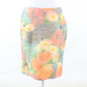 Orange green floral print STEPHANIE SCHAICH pencil skirt 8