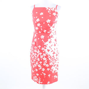 Salmon pink white floral print cotton blend MAGASCHONI sheath dress 4