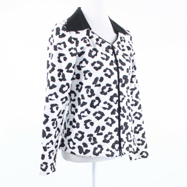 White black cheetah STERA zip front long sleeve jacket L-Newish