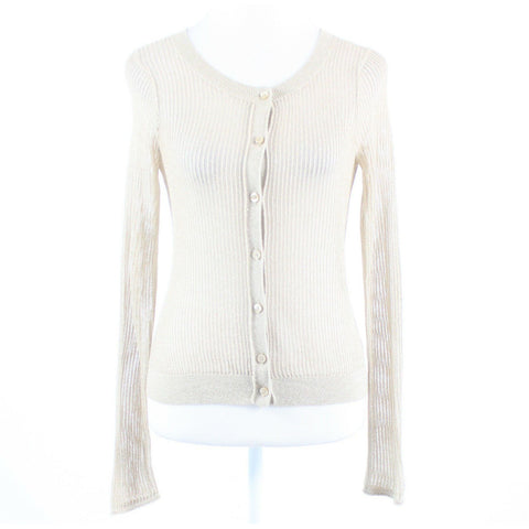 Beige gold semi-sheer EXPRESS long sleeve cardigan sweater S