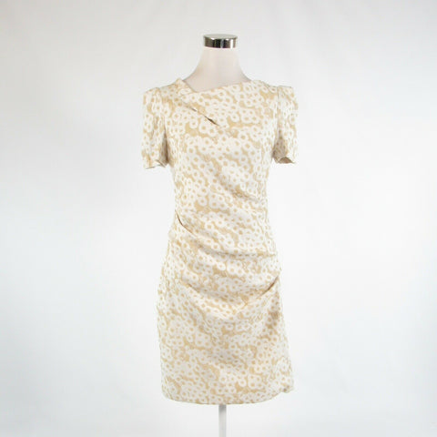 Ivory gold textured THEIA stretch short sleeve sheath dress 10