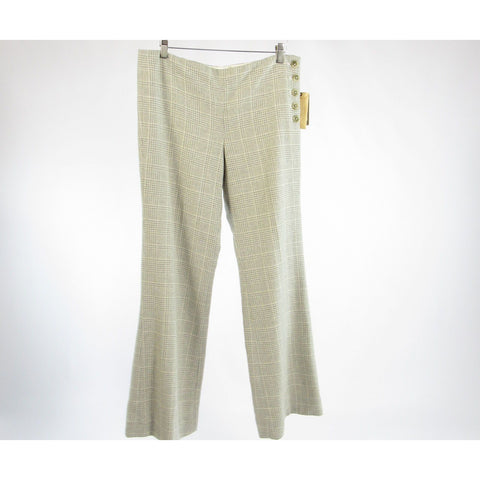 Stone gray ivory plaid ANTHROPOLOGIE ELEVENSES dress pants 10 NWT $148.00