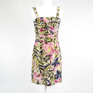 Pink gray floral silk BANANA REPUBLIC spaghetti strap sheath dress 6