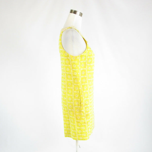 Yellow white geometric eyelet TIBI sleeveless sun dress 4-Newish