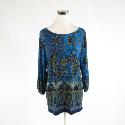 Blue yellow paisley ANN TAYLOR stretch 3/4 sleeve blouse XL